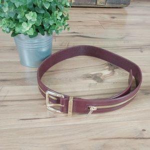 Rebecca Minkoff Zipper Burgundy Gold Belt M